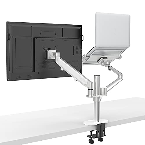 ProCase Monitor and Laptop Mount, 2-in-1 Adjustable Dual Arm Desk Mounts, Single Gas Spring Arm...