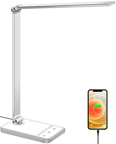 LED Desk Lamp, Eye-Caring Desk Lamp with USB Charging Port, Dimmable Desk Light with 6 Brightness...