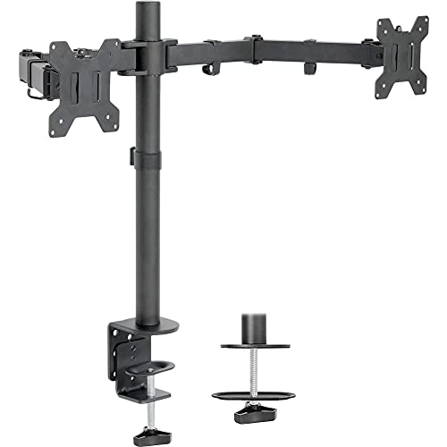 VIVO Dual LCD LED 13 to 27 inch Monitor Desk Mount Stand, Heavy Duty Fully Adjustable, Fits 2...