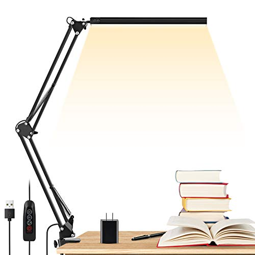LED Desk Lamp, ENOCH 14W Eye-Caring Metal Swing Arm Desk Lamp with Clamp, 3 Modes, 30 Brightness...