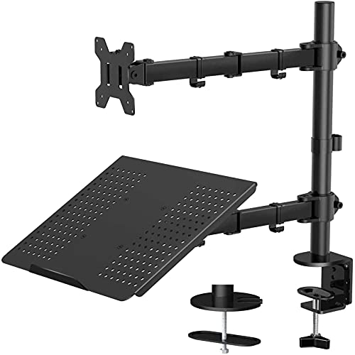 HUANUO Laptop Mount with Keyboard Tray, Adjustable Monitor Desk Stand with Clamp and Grommet...