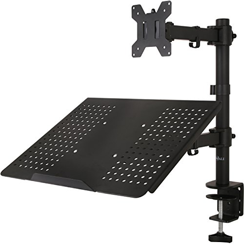 WALI Single LCD Monitor Desk Mount Fully Adjustable Stand with Extra Laptop Tray for 1 Laptop...