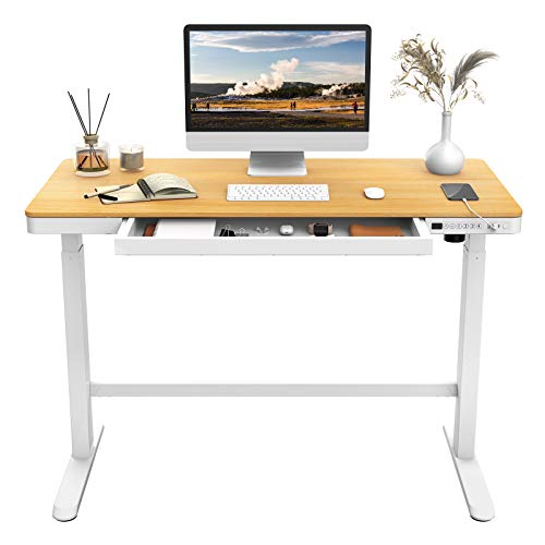 Flexispot Electric Height Adjustable Standing Desk with Drawers 48 Inches Red Oak Desktop and...