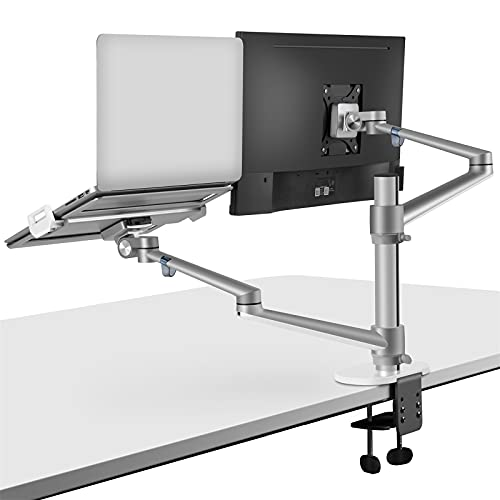 viozon Monitor and Laptop Mount, 2-in-1 Adjustable Dual Arm Desk Mounts Single Desk Arm Stand/Holder...