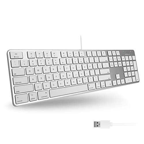 Macally Ultra-Slim USB Wired Keyboard with Number Keypad for Apple Mac Pro, MacBook Pro/Air, iMac,...