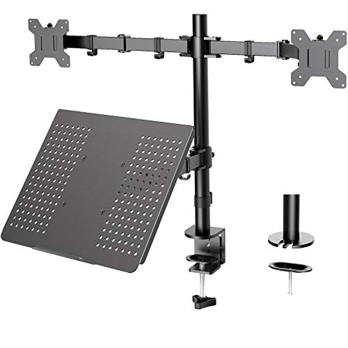 HUANUO Laptop Mount, Height Adjustable Dual Monitor Mount with Laptop Keyboard Tray Fit Two 13 to 27...