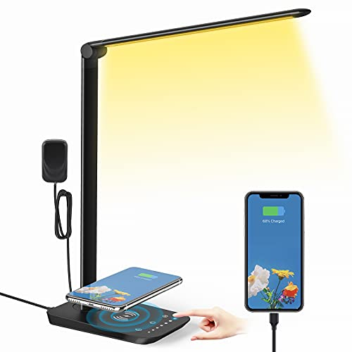 LED Desk Lamp with Wireless Charger, USB Charging Port, 12W Eye-Caring Desk Lamps for Home Office,...