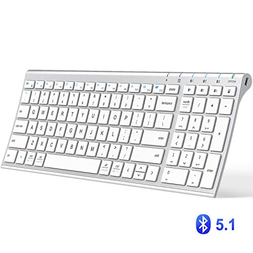 iClever BK10 Bluetooth Keyboard, Multi Device Keyboard Rechargeable Bluetooth 5.1 with Number Pad...