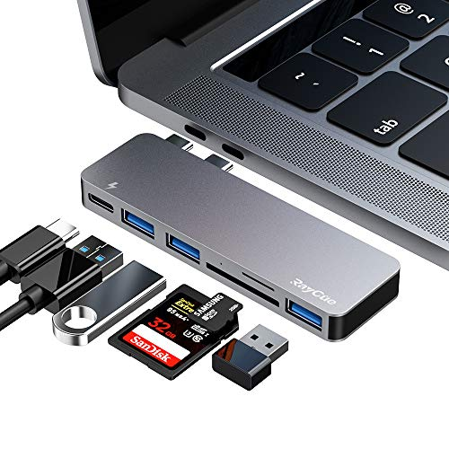 USB C Hub, 6 in 1 Aluminum Type C Hub Adapter, MacBook Pro Accessories with 3 USB 3.0 Ports, TF/SD...