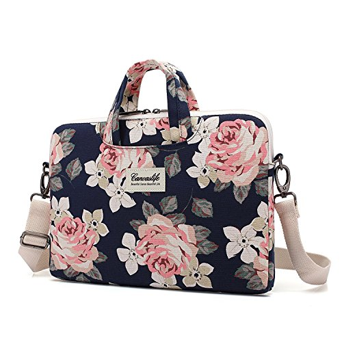 Canvaslife White Rose waterproof Patten Canvas Laptop Shoulder Messenger Bag Case Sleeve for 11 Inch...