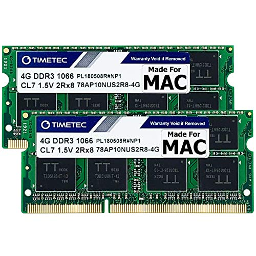 Timetec 8GB KIT(2x4GB) Compatible for Apple DDR3 1067MHz / 1066MHz PC3-8500 CL7 for Mac Book, Mac...