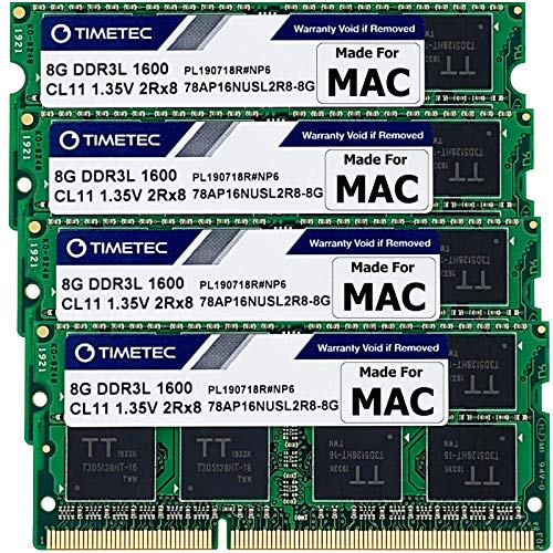 Timetec 32GB KIT(4x8GB) Compatible for Apple DDR3L 1600MHz PC3L-12800 CL11 for iMac (Mid 2011, Late...