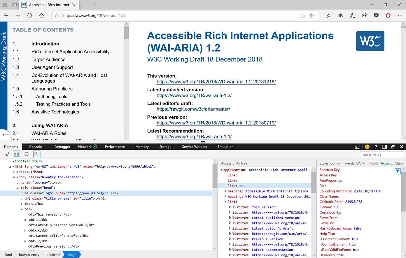 Screenshot showing the accessibility tools in Microsoft Edge