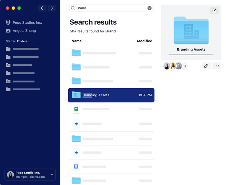 Screenshot of search results in the new Dropbox desktop app