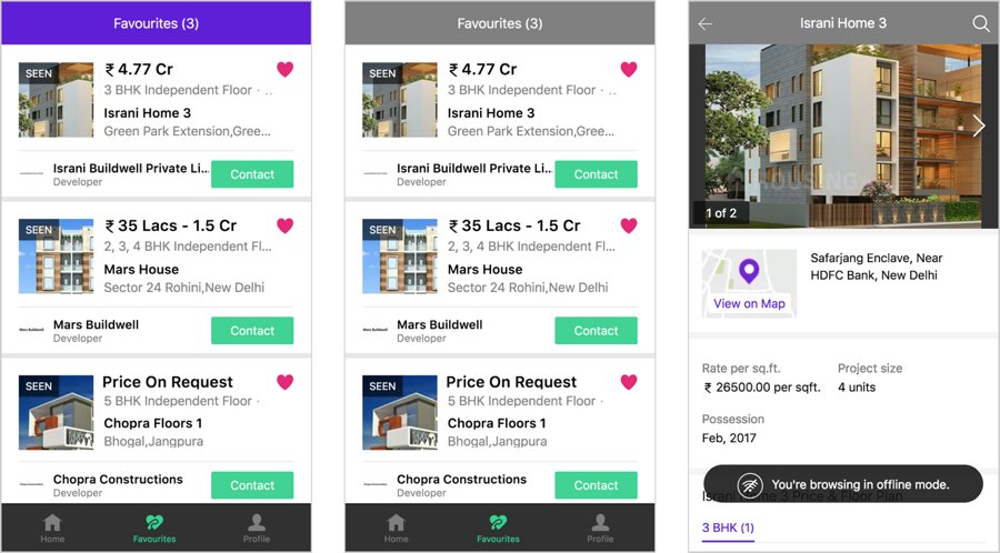 Three screens from the housing.com site show how the design adapts to show when it is offline and that it can continue to show saved results even when offline.