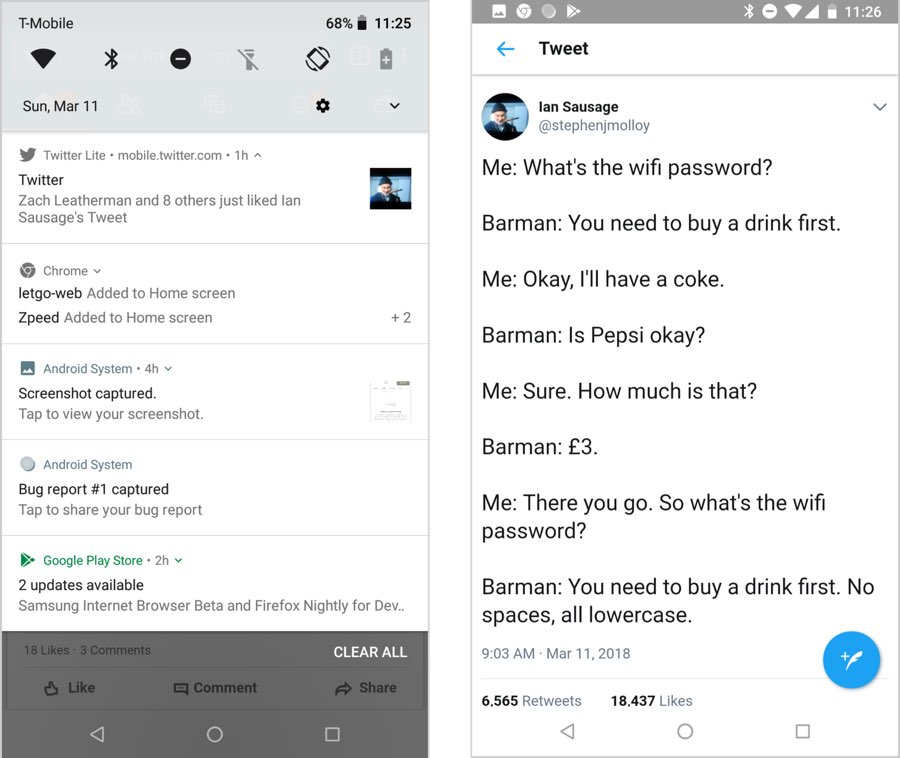 Two screens: On the left, a list of system notifications including one from the Twitter website. On the right, the notification opened on the Twitter site to a funny tweet about WiFi passwords in a bar.