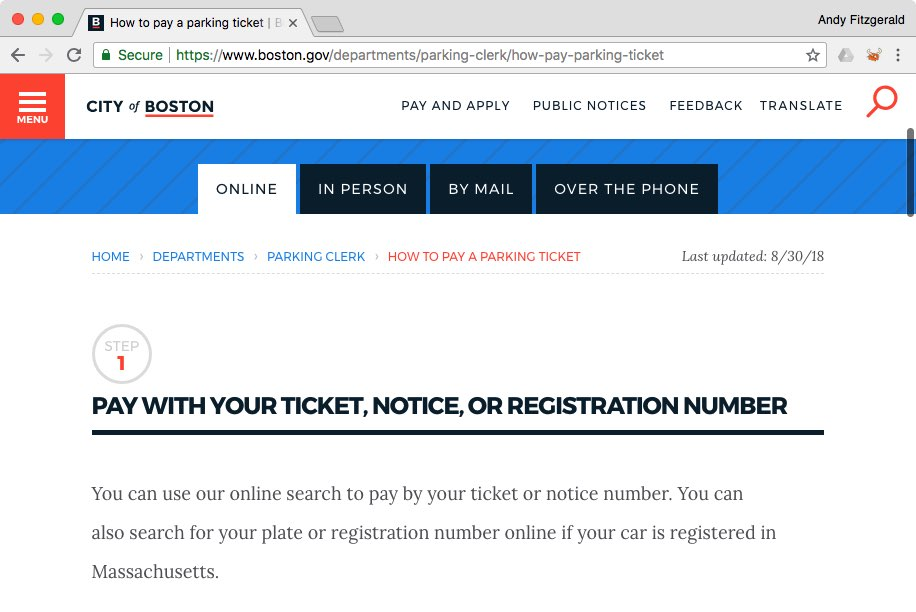 """The City of Boston website's """"How to Pay a Parking Ticket"""" page, showing a tabbed view of ways to pay and instructions for the first of those ways, paying online."""