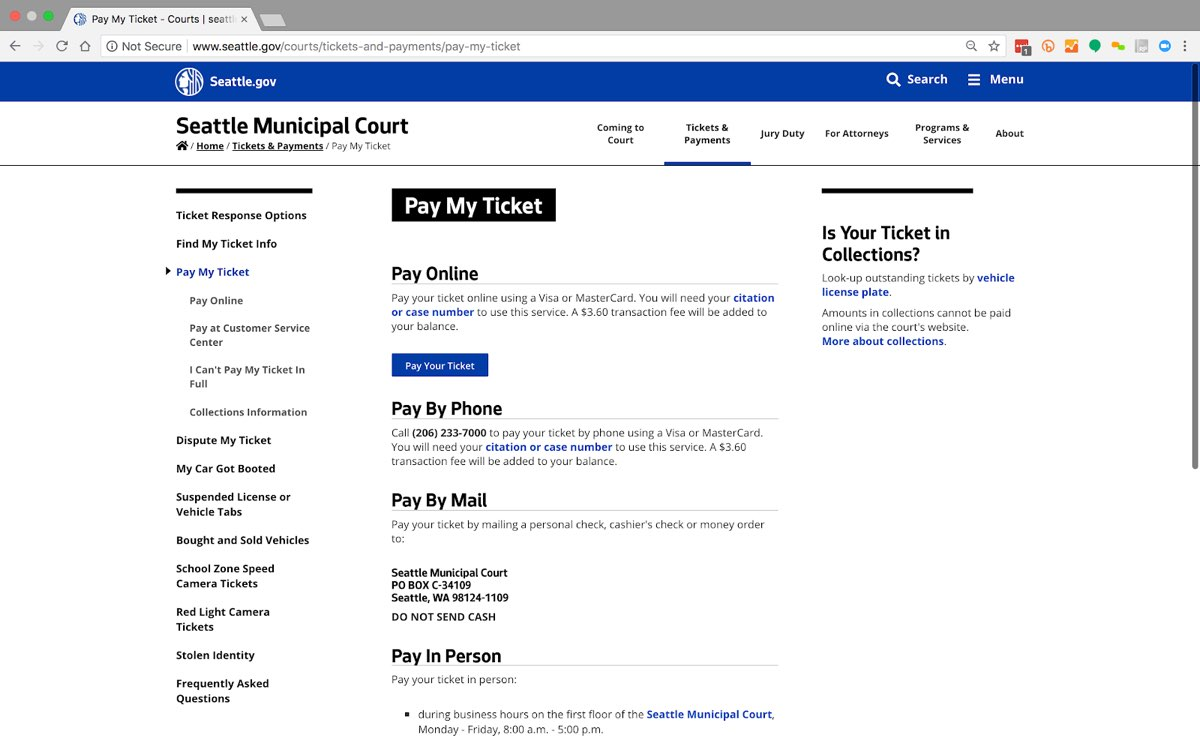 """The City of Seattle website's """"Pay My Ticket"""" page, showing four methods to pay a parking ticket in a simple, all-text layout."""
