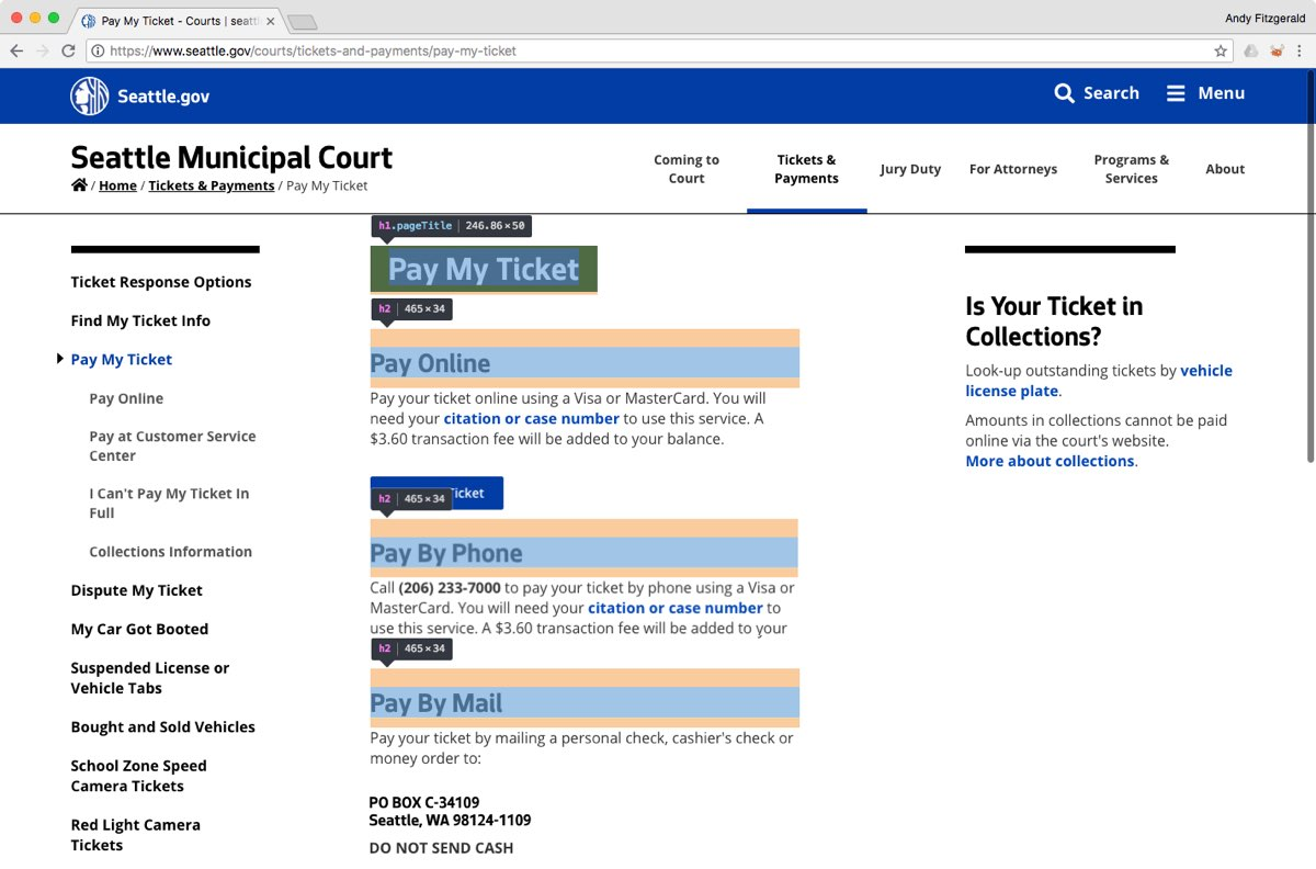 """The City of Seattle website's """"Pay My Ticket"""" page, with the HTML heading elements outlined and labeled for illustration."""