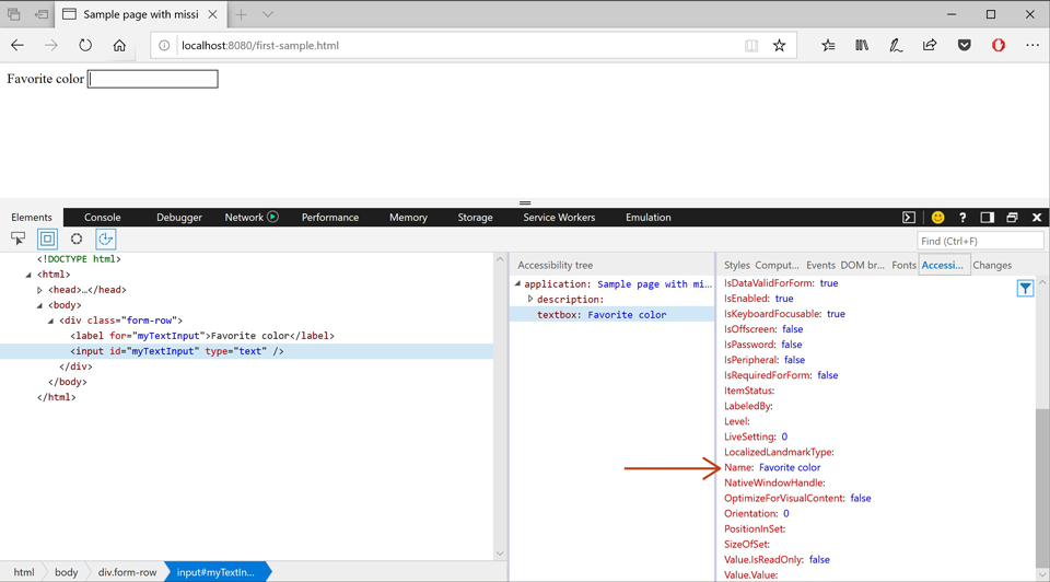 Screenshot showing the Microsoft Edge tools inspecting an input element with the Accessibility Tree panel open, where the input's Name attribute now has a value