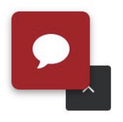 A red chat icon overlaps with a corner of the scroll to top icon, obscuring a portion of the arrow.